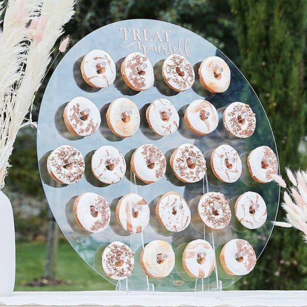 support à donuts cercle plexi E&C Events location matériel décoration événement mariage baptême anniversaire Pays de Gex France 01