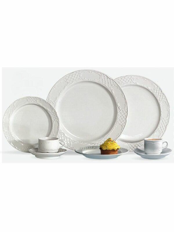 Assiette-platte-25-cm-porcelaine-blanche-location-vaisselle-decor-relief-Ec-Events-Pays-de-Gex-suisse-Geneve